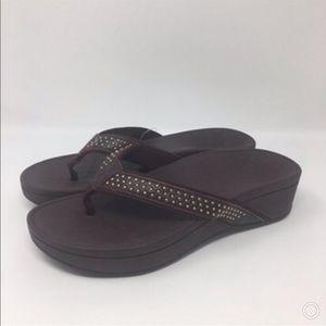 Vionic Brown Kehoe Flip Flops 10 New